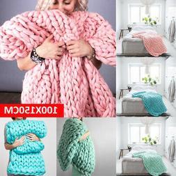 100x150cm Large Warm Sofa Chunky Handmade Knit Yarn Blanket