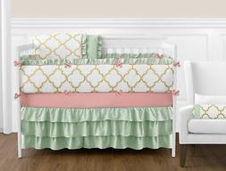Sweet Jojo Lattice Gold White Coral and Mint Newborn Girl Cr