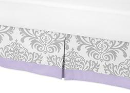 Sweet Jojo Designs Lavender, Gray and White Damask Print Eli