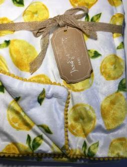 NEW Lemon Baby Blanket Fresh & Sweet Minky Reversible White