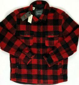 Levi's Sherpa Trucker Jacket Red Black Plaid Fleece Men's