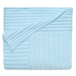 Light Blue Cable Knit Baby Blanket - Baby Blankets & Quilts