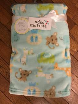 "Baby Starters Light Green with Jungle Animals Blanket 30"" x"