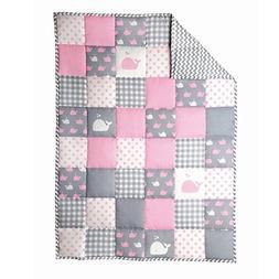 RAJRANG Light Grey Baby Crib Blanket Pink Cot Bedding Cute F