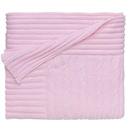 Light Pink Cable Knit Baby Blanket - Baby Blankets & Quilts