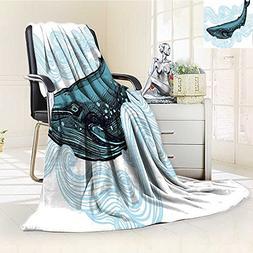 YOYI-HOME Lightweight Duplex Printed Blanket Whale Big Happy