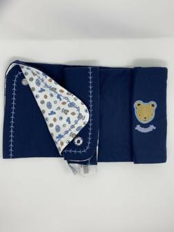 Gymboree Lil Sport Baby Blanket Teddy Bear Mascot Navy Blue