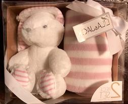 """LILA & JACK 2 Piece Baby Gift Set PLUSH TOY BUNNY & 30"""" X 40"""