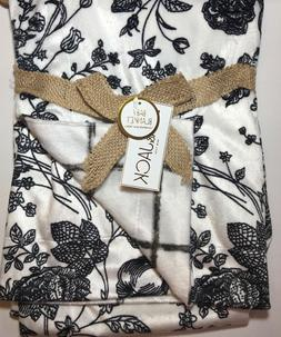 Lila & Jack Baby Blanket Reversible Minky Fabric Black and W