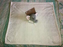 Lila & Jack Elephant Security Blanket Gray White Fleece Love