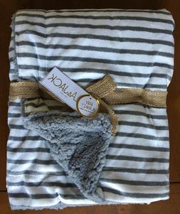 Lila & Jack White/Gray Striped Baby Blanket Silky MicroMink