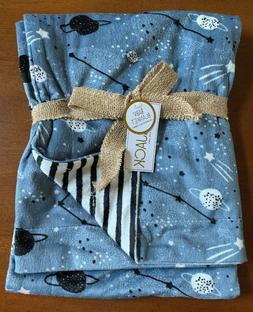 lila jack baby blanket blue gray planets