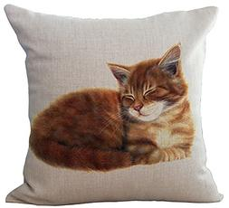 ChezMax Linen Blend Sleepy Cats Pattern Cushion Cover Cotton