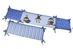 Little Bedding by NoJo 3 Little Monkeys Crib Bumper, Boy