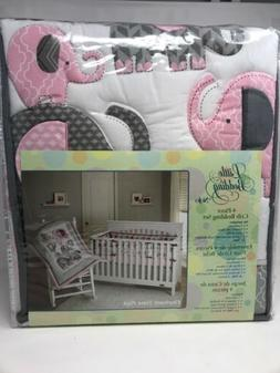 Little Bedding by NoJo Elephant Time 4-Piece Crib Pink Beddi