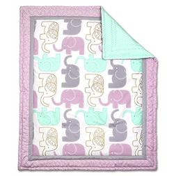 Little Peanut Lilac and Gold Elephant Baby Girl Crib Quilt b