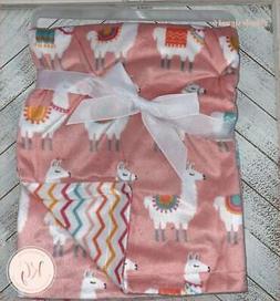 Hudson Baby Llama Baby Plush Reversible Mink Blanket