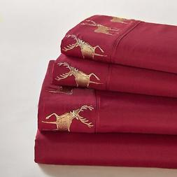 Lodge Collage Decorative Embroidered Deer Queen Bedding Shee