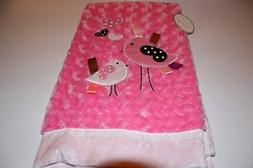 Lollypop Soft & Cozy Hot Pink Rosette Baby Blanket with Bird