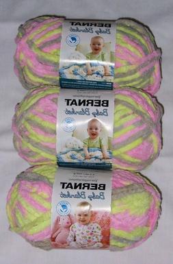 LOT OF 3 BERNAT BABY BLANKET YARN - LITTLE GIRL DOVE - 10.5