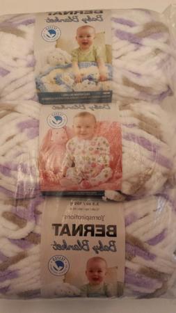 LOT OF 3 BERNAT BABY BLANKET YARN LITTLE LILAC DOVE 3.5 OZ E