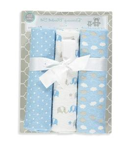 Cribmates Lot of 3 Baby Boy Blue Cotton Receiving Blankets N