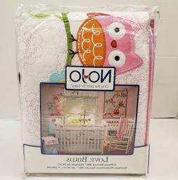 NOJO LOVE BIRDS Crib Bumper - 4-Piece Secure-Me Nursery Baby