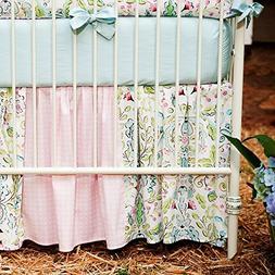 Carousel Designs Love Birds Crib Skirt Gathered Patchwork 14