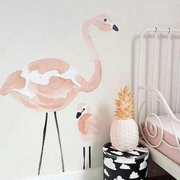 Lovely Flamingo Feather Wall Sticker Girls Room Nursery Unic