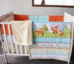 Lovely Fox Baby Bedding Set Crib Nursery Quilt Skirt Sheet B