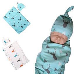 FEITONG Lovely Soft Baby Swaddling Blanket+ Headband Set
