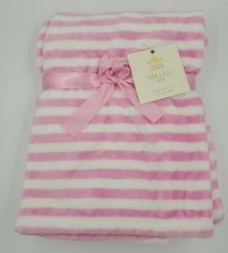 Lullaby Baby Girls Plush Blanket, Pink / White, Striped, Sof