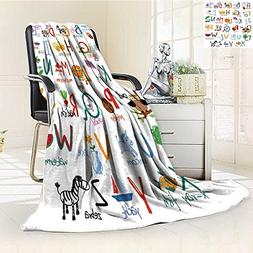 AmaPark Luminous Microfiber Throw Blanket Hand Drawn Alphabe