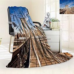 Luminous Microfiber Throw Blanket new york city brooklyn bri