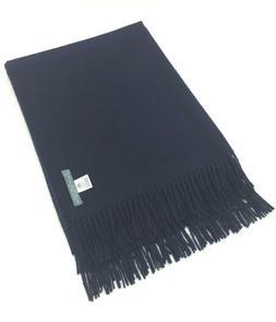 LILI ~ Luxe 100% Baby Alpaca Throw Blanket w/ Fringe ~ Navy