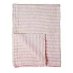 Luxe Chenille Cozy Baby Blanket in Pink and White Stripes, s
