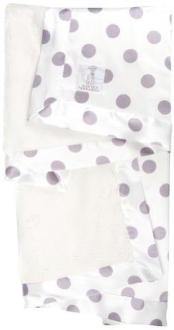 Little Giraffe Luxe Cream Dot Baby Blanket, Lavender
