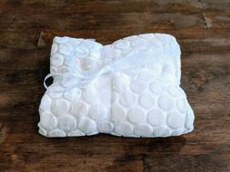 LITTLE GIRAFFE LUXE White Ivory Baby Blanket Velvet Silk & S