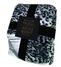 Silver One Luxury Animal Safari Faux Fur Throw All Season De