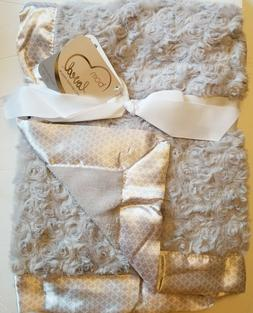 "Luxury Baby Blanket 30"" 40"" Just Born Silver Gray Satin Trim"
