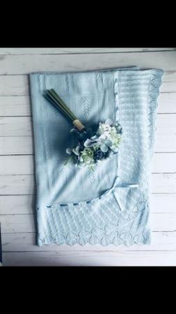 Luxury Baby Blue Blanket Knit 100% Cotton & Pima Cotton Shee