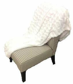 Deco Luxury Faux Fur Sherpa Reversible White Throw Blanket
