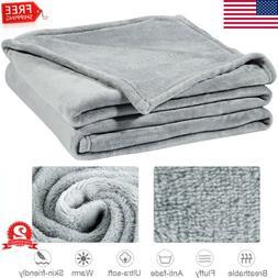Luxury Flannel Blanket Throw Microfiber Wrinkle Resistant fo