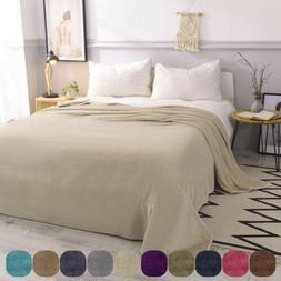 VEEYOO Microfiber Flannel Fleece Blanket Plush Soft Throw Be