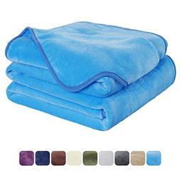 EASELAND Soft Travel Size Blanket All Season Warm Fuzzy Micr