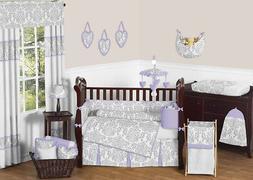Sweet Jojo Luxury Lavender Gray Damask Baby Bedding Crib Set