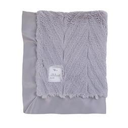 Cuddle Me Luxury Plush Chevron Blanket with Matte Satin Bord