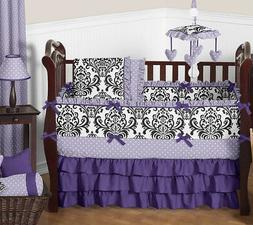 Luxury Purple Lavender Black White Damask Polka Dot Baby Gir