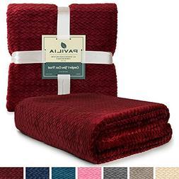 PAVILIA Luxury Soft Plush Wine Red Throw Blanket for Sofa, C