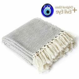 Luxury Throw Blanket with Fringe 100% Cotton for Chair, Couc